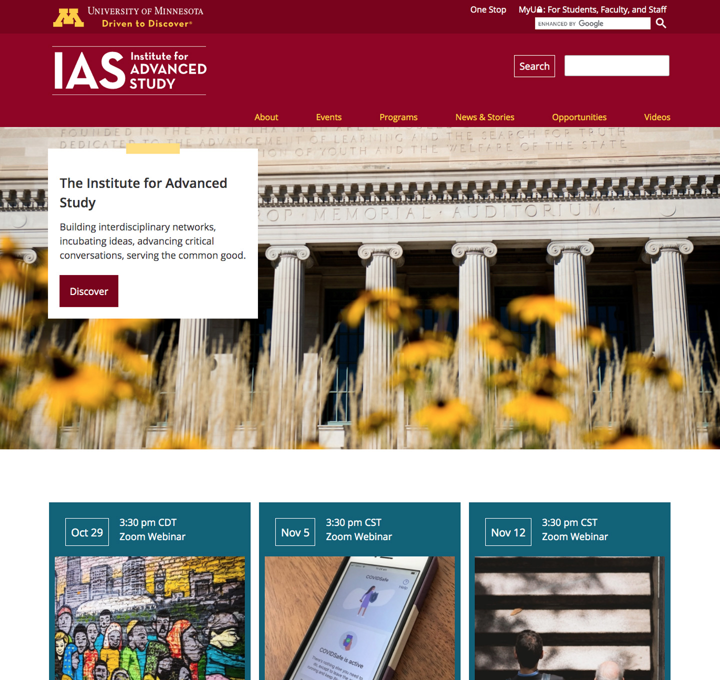 The Institute for Advanced Study website screenshot