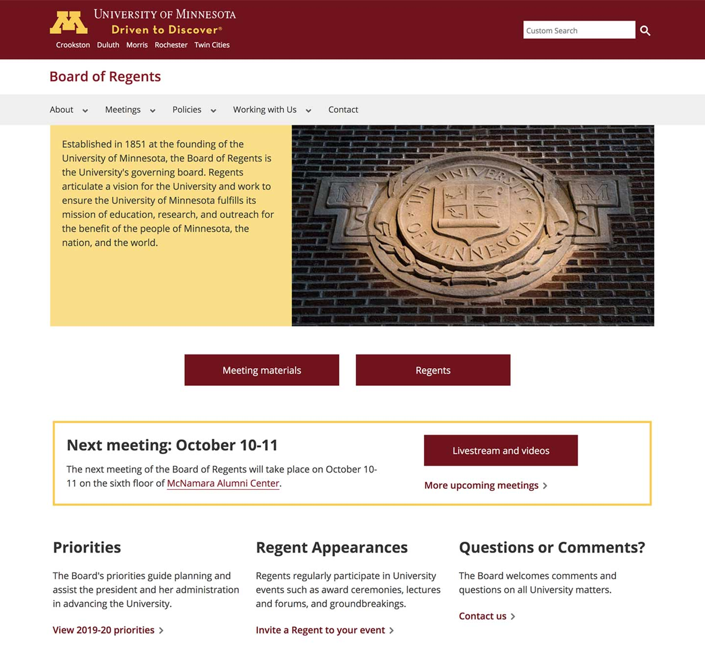 Board of Regents home page screenshot