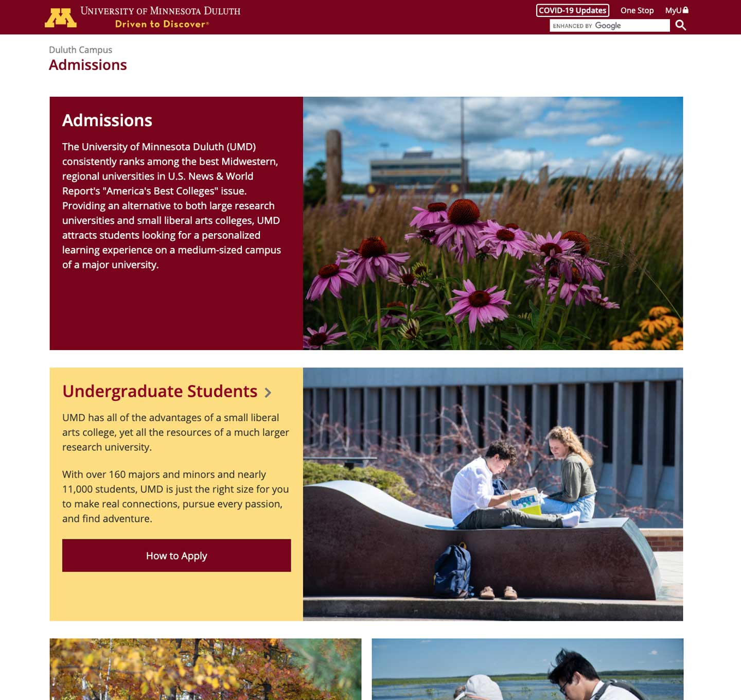 Duluth admissions website screenshot