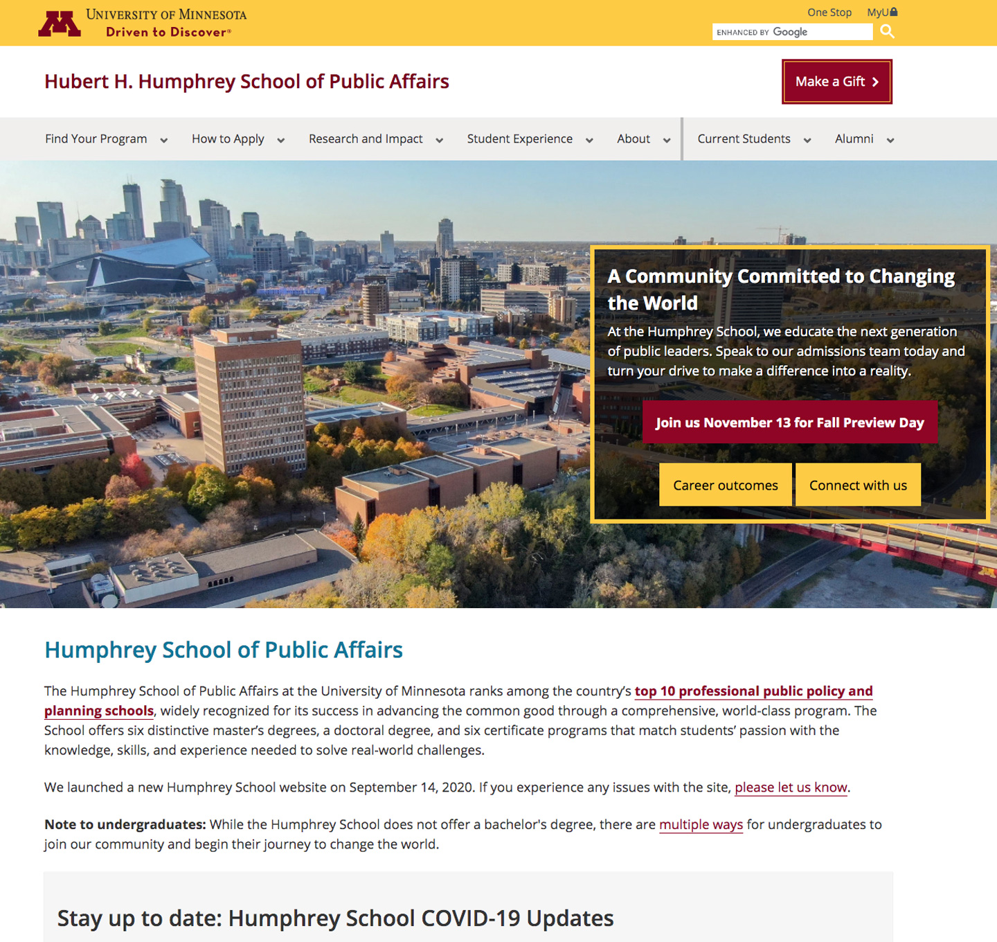 Hubert H. Humphrey School of Public Affairs website screenshot