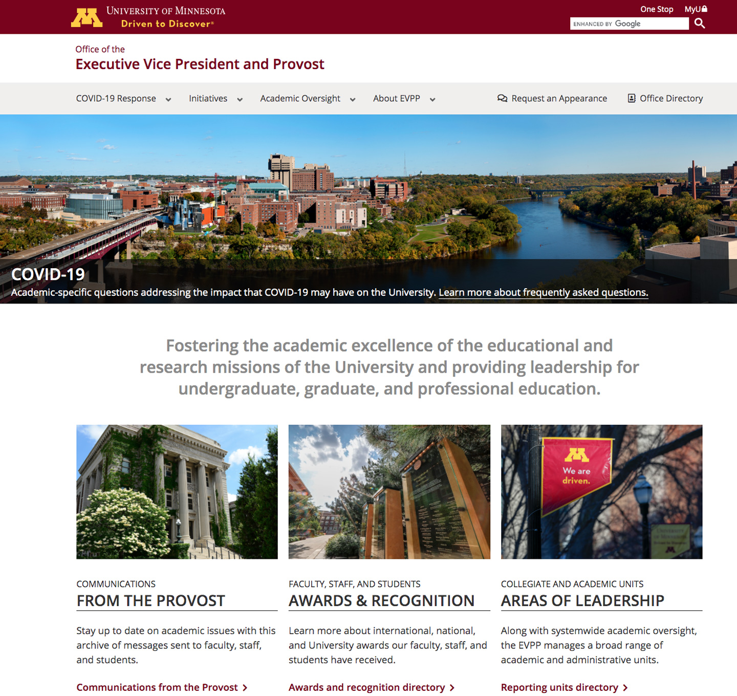 Provost office website screenshot