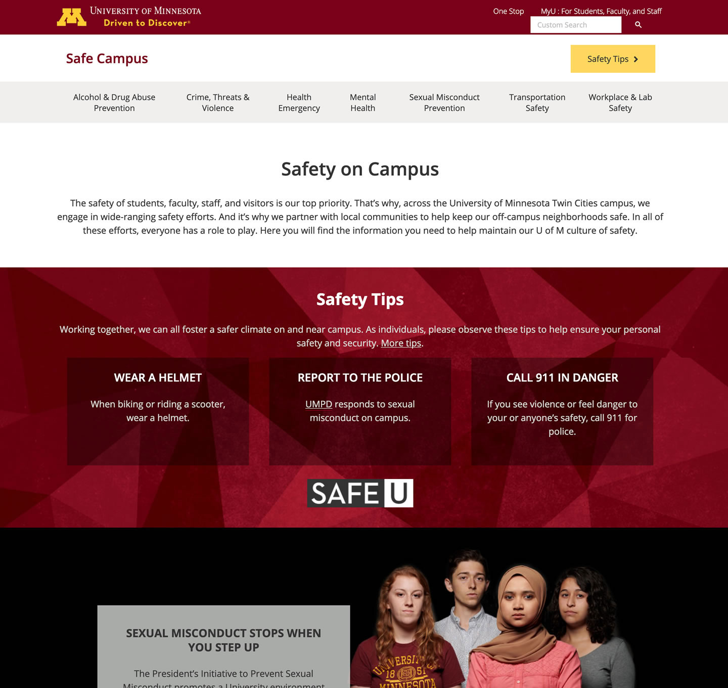 Safe campus site screenshot