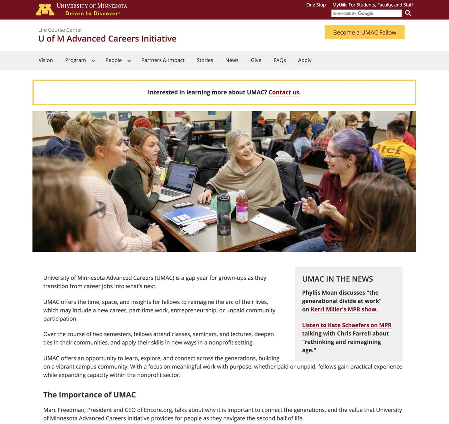 UMN Advanced Careers Initiative website screenshot