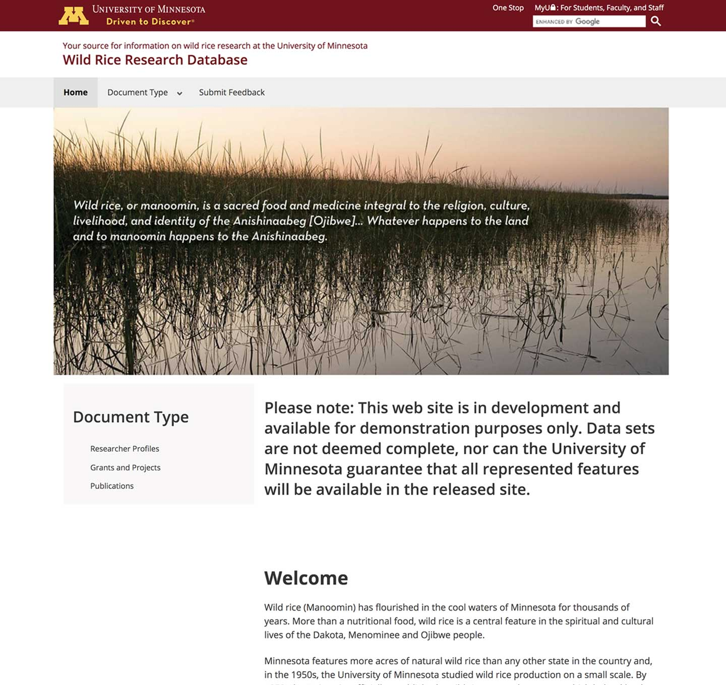 Wild rice research website screenshot