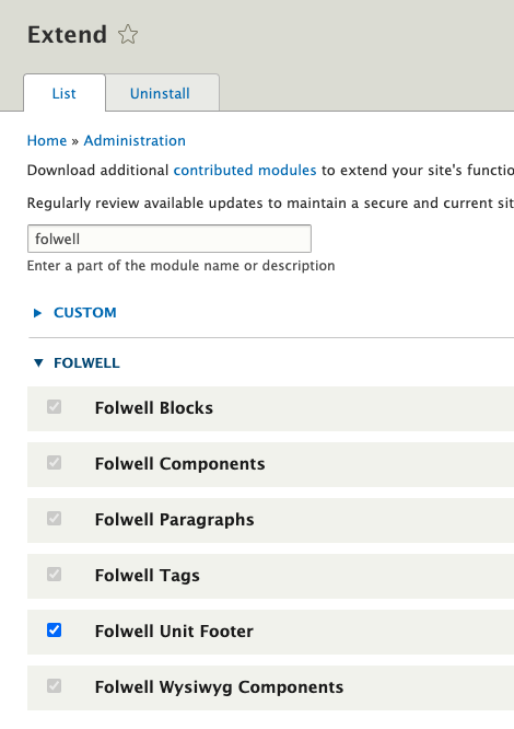Enable unit footer module example